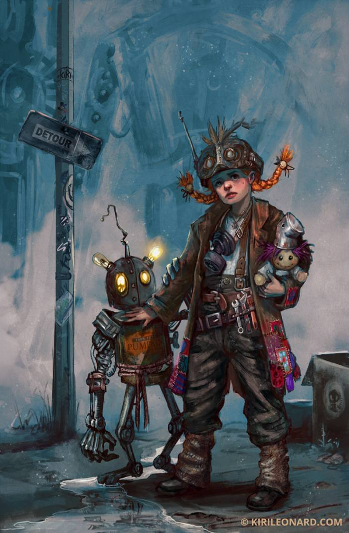 Post apocalyptic Illustration of young teenage girl named Apocalina with red braids , holding a doll and her little robot friend.