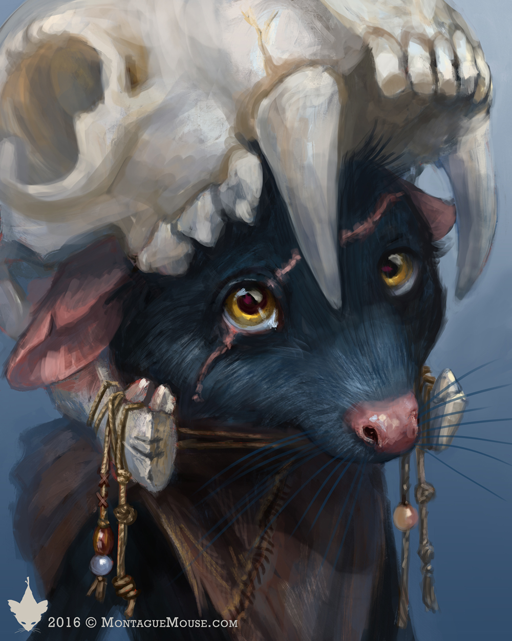 Character portrait of Svea from MontagueMouse.com. Svea is a black mouse from the Skullhollow tribe that Montague makes friends with. Find more at MontagueMouse.com. Art by KiriLeonard.com