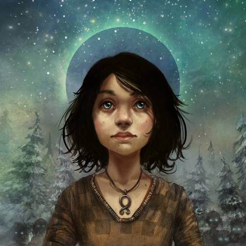 Illustration of a dark haired teenage girl holding a troll stone in a night time setting.