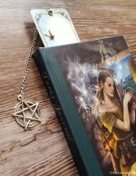 Spine of Tarot Journal shown with Sun/Moon Bookmark
