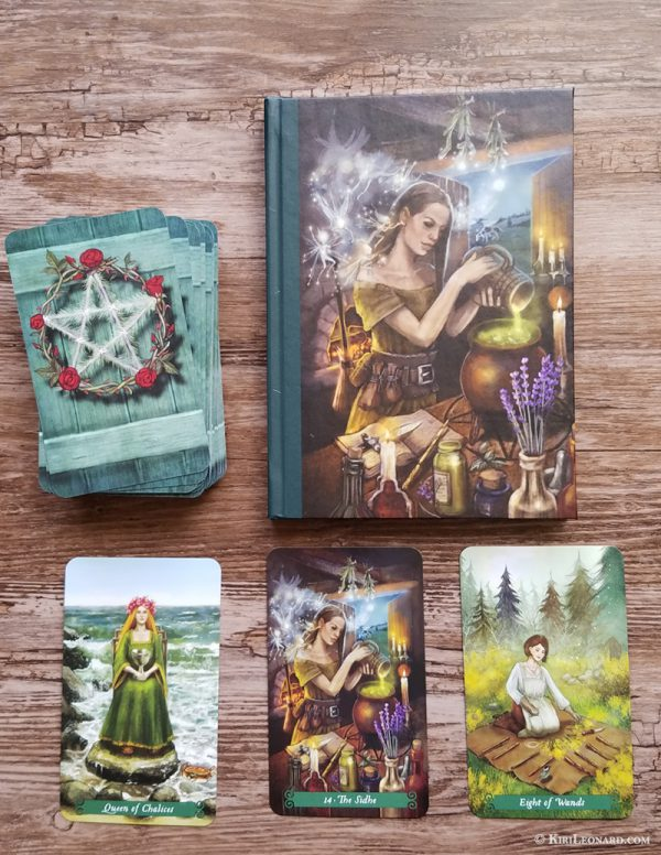 Front of Tarot Journal shown with Green Witch Tarot Deck