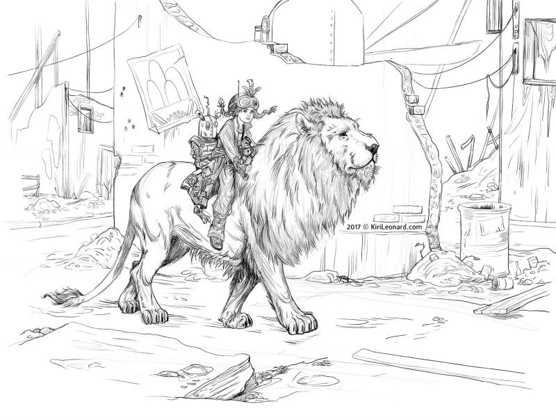 Illustration set in a post apocalyptic setting of a young girl riding on an Aslan inspired lion. Art by Kiri Østergaard Leonard - See more at KiriLeonard.com
