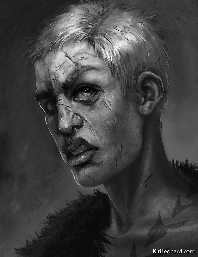 Female Pugilist Fighter Portrait for my Dungeons and Dragons character Locke.