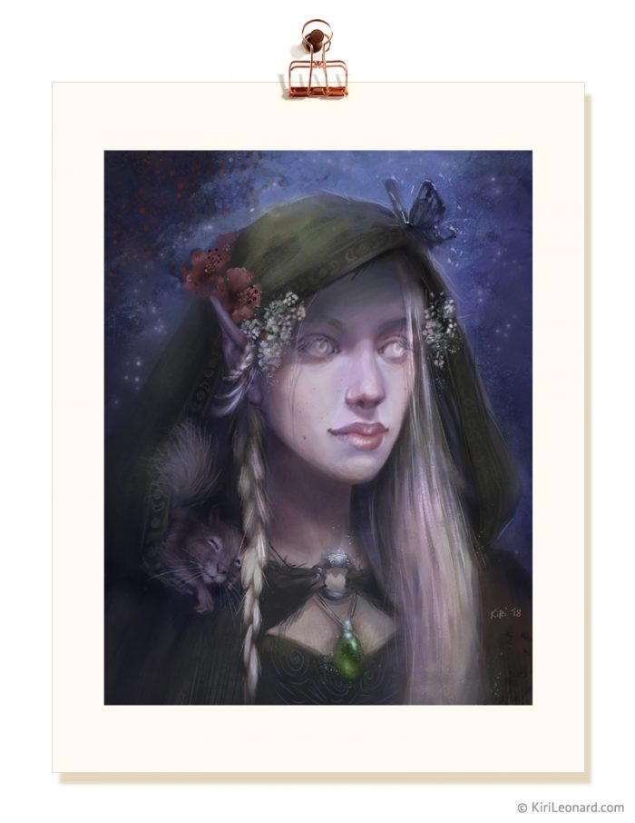 Fine Art Print of Yarrow the Druid, a D&D Character