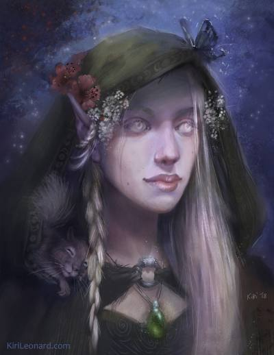 Illustration of D&D Character Yarrow the Elven Druid
