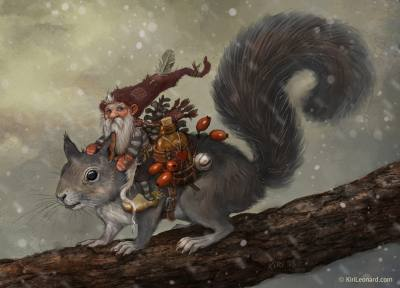 Illustration of a Scandinavian gnome riding on a gray squirrel.
