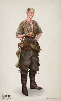 Illustration of female fighter d&D character Locke Galston holding an onion. Painted by Kiri Østergaard Leonard.