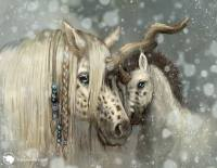Illustration of a unicorn mother and foal in a snowy winter.
