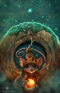Whimsical children's illustration of mouse with a hat holding a glowing acorn at night in front of a standing stone.