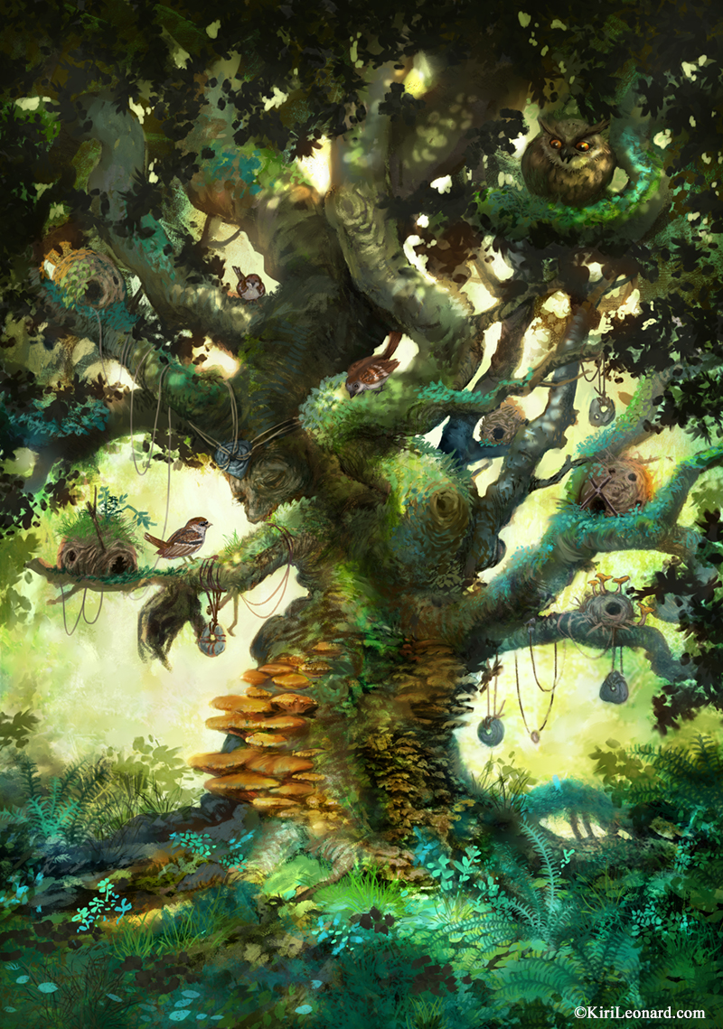 Illustration of old gnarly fairy tree with birds and fairy nests.