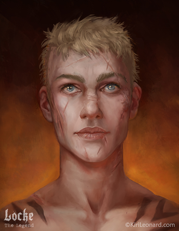 D&D character portrait of Locke the Legend a short haired blonde female pit fighter with blue eyes.