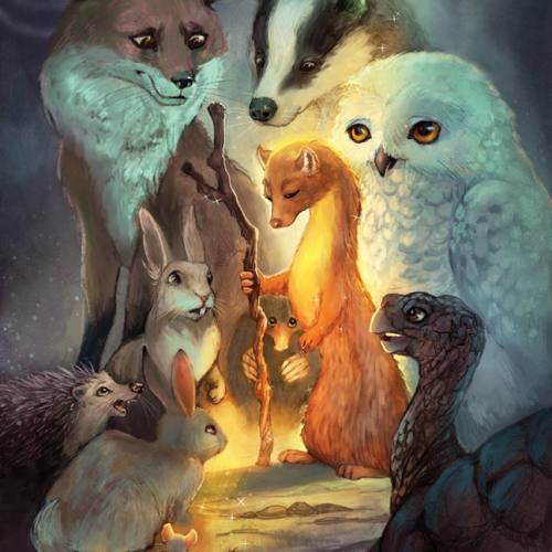 Art print of a fox, pine marten, owl, rabbit, mouse, tortoise, badger and a mole.