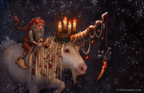 Art Print: The Gnome and the Unicorn